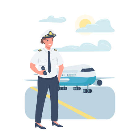 Woman airplane pilot flat color vector detailed character. Gender balance at workplace. Female working in airline industry isolated cartoon illustration for web graphic design and animation Stock Illustratie