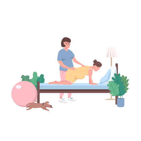Midwife with woman flat color vector faceless characters. Alternative childbirth at home. Professional doula. Childbearing isolated cartoon illustration for web graphic design and animation