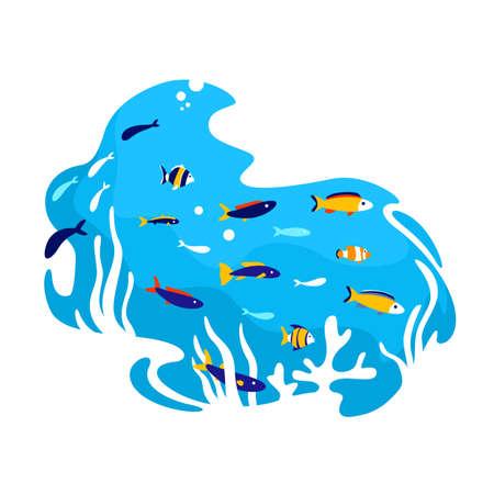 Tropical fish 2D vector web banner, poster. Aquarium creatures. Salt water ecosystem. Underwater flat scenery on cartoon background. Marine wildlife printable patch, colorful web element Illusztráció