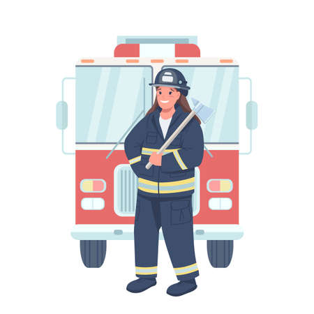 Woman firefighter flat color vector detailed character. Gender equality at workplace. Female fireman holding equipment isolated cartoon illustration for web graphic design and animation
