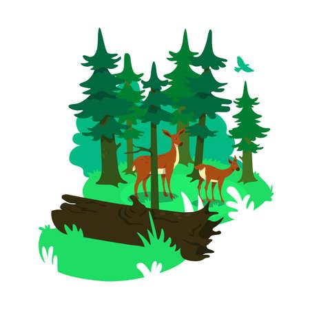 National park 2D vector web banner, poster. Natural habitat for deers. Wild animal conservation flat scenery on cartoon background. Wildlife conservation printable patch, colorful web element Ilustração