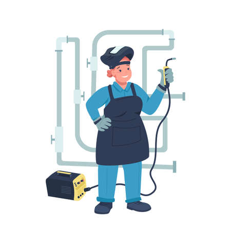 Woman electric welder flat color vector detailed character. Gender equality. Cheerful lady working with electrical equipment isolated cartoon illustration for web graphic design and animation