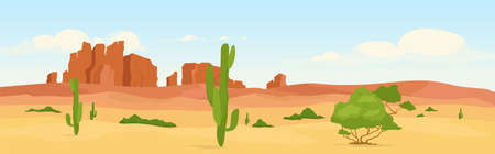 Western dry desert at day time flat color vector illustration. Wasteland travel destination. Wilderness morning scenery. Wild west 2D cartoon landscape with cactus and canyons on background 스톡 콘텐츠 - 151128386