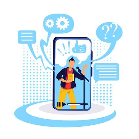 Podcast on smartphone flat concept vector illustration. Conversational show on internet. Popular content creator. Online show host 2D cartoon character for web design. Webinar creative idea Ilustrace