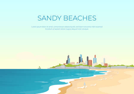 Sandy beach banner flat vector template. Summertime urban rest. Sea resort hotels. Brochure, booklet one page concept design with cartoon landscape. Summer recreation in city horizontal flyer, leaflet Illusztráció