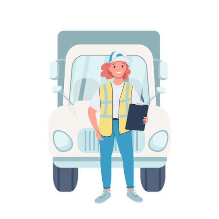 Woman truck driver flat color vector detailed character. Gender equality at workplace. Cheerful female trucker with vehicle isolated cartoon illustration for web graphic design and animation