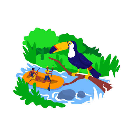 Rafting 2D vector web banner, poster. Brazil forest. Tropical rainforest with river. Amazon tourist flat characters on cartoon background. Extreme sport printable patch, colorful web element