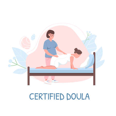 Midwife for childbirth flat color vector faceless character. Certified doula phrase. Childbearing woman. Alternative childbirth isolated cartoon illustration for web graphic design and animation Vecteurs