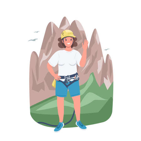 Woman mountaineer flat color vector detailed character. Climbing and trekking. Strong lady. Cheerful female climber isolated cartoon illustration for web graphic design and animation