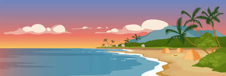 Tropical sandy beach flat color vector illustration. Wild sea shore and palm trees. Marine town panoramic view. Summer camping. Tents on ocean coast 2D cartoon landscape with sunset sky on background
