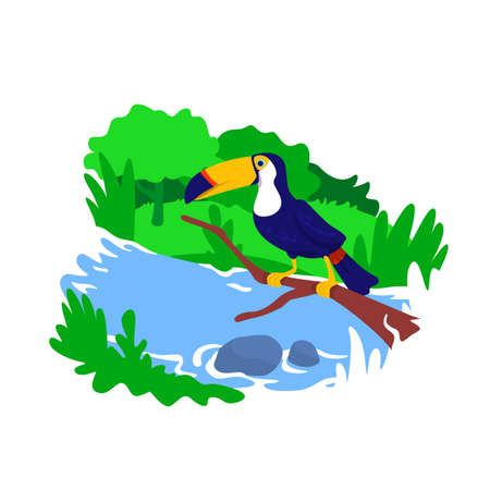 Amazon jungle 2D vector web banner, poster. Tropical climate zone. Toucan on tree. Brazilian wildlife flat scenery on cartoon background. Rainforest nature printable patch, colorful web element
