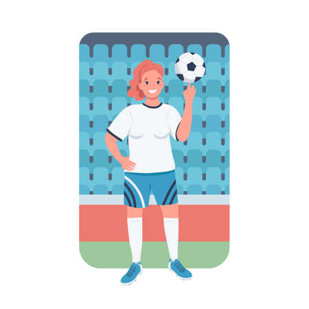 Woman footballer flat color vector detailed character. Women sports. Gender equality. Female soccer player at championship isolated cartoon illustration for web graphic design and animation Иллюстрация