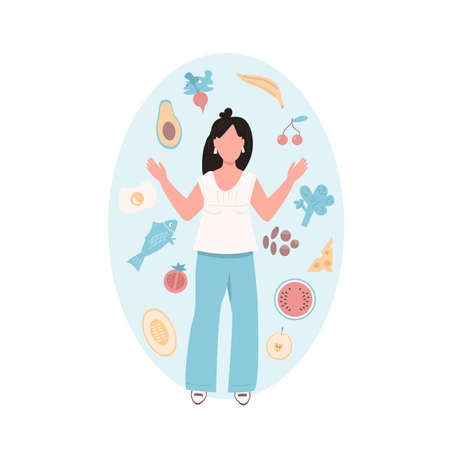 Slim woman flat color vector faceless character. Vegetable and nutritious food for female health. Ingredient to cook. Healthy diet isolated cartoon illustration for web graphic design and animation