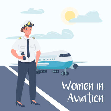 Female airplane pilot social media post mockup. Women in aviation phrase. Web banner design template. Booster, content layout with inscription. Poster, print ads and flat illustration Illustration