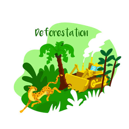 Cut trees 2D vector web banner, poster. Deforestation phrase. Loss of animal natural habitat flat scenery on cartoon background. Industrial damage printable patch, colorful web element