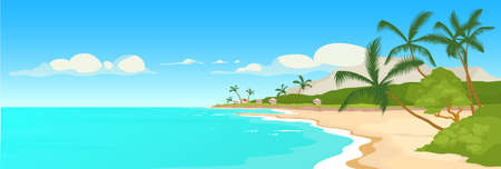 Tropical sandy beach flat color vector illustration. Wild sea shore and palm trees scene. Marine town panoramic view. Summer recreation. Exotic paradise 2D cartoon landscape ocean coast on background