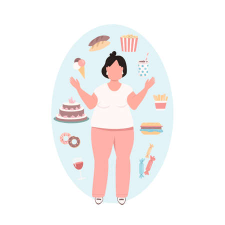Obese woman flat color vector faceless character. Overweight girl in pink pants with unhealthy diet. Junk food. Bad eating habits isolated cartoon illustration for web graphic design and animation