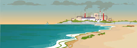 Contaminated sandy beach flat color vector illustration. Ecological catastrophe. Factory emission. Nature pollution. Ocean coast 2D cartoon landscape with manufactory and smog in air on background