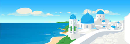 Greek coastal town flat color vector illustration. Summer holiday in Greece. Mediterranean vacation. Traditional white buildings. Santorini panoramic 2D cartoon with seascape on background