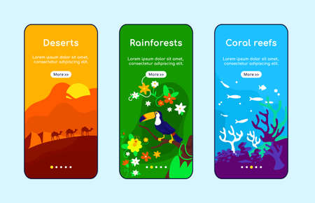 Climate zones onboarding mobile app screen flat vector template. Arabian desert. Amazon rainforest. Walkthrough website steps with characters. UX, UI, GUI smartphone cartoon interface, case prints set