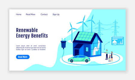 Renewable energy benefits landing page flat color vector template. Online platform homepage layout. Smart home one page website interface with cartoon illustration. Digitalization web banner, webpage