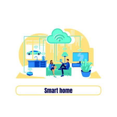 Smart grid flat concept vector illustration. Smart home phrase. Automatic appliance. Remote control for house 2D cartoon illustration for web design. Digital transformation creative idea