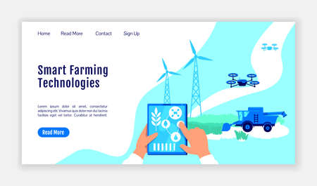 Smart farming technologies landing page flat color vector template. Greenhouse homepage layout. Farming one page website interface with cartoon illustration. Digital agriculture web banner, webpage Illusztráció