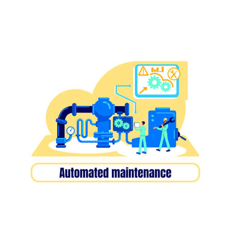 Computerized machinery flat concept vector illustration. Optimization and engineering. Automated maintenance phrase. Factory production 2D cartoon illustration for web design. Automation creative idea