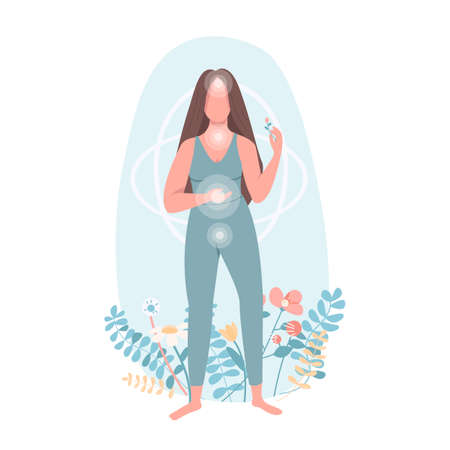 Harmony flat color vector faceless character. Women health care. Body wellbeing. Yoga practice. Chi centers. Spirituality isolated cartoon illustration for web graphic design and animation