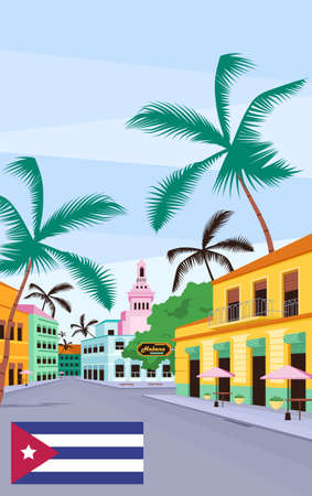 Cuban old street poster flat vector template. Havana traditional colorful buildings. Brochure, booklet one page concept design with cartoon objects. Summer holiday flyer, leaflet