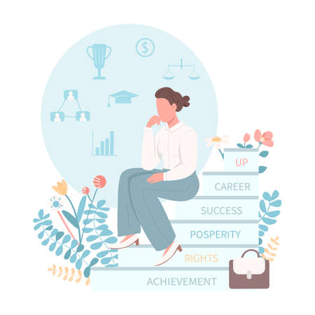 Female rights flat concept vector illustration. Gender equality for workplace. Support for career woman. Businesswoman 2D cartoon characters for web design. Women empowerment creative idea Illusztráció