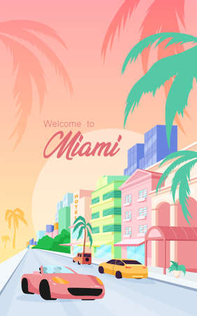 Florida streets poster flat vector template. Welcome to Miami phrase. Modern buildings and luxury cars. Brochure, booklet one page concept design with cartoon objects. Summer holiday flyer, leaflet