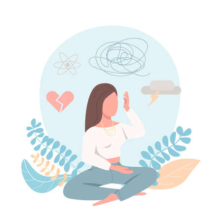 Sad female flat color vector faceless character. Frustrated woman. Mental health problem. Psychological distress. Depression isolated cartoon illustration for web graphic design and animation