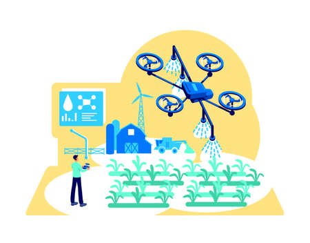 Agribusiness automation flat concept vector illustration. Drone for irrigation. Modern greenhouse. Farmer with device control 2D cartoon character for web design. Digital agriculture creative idea