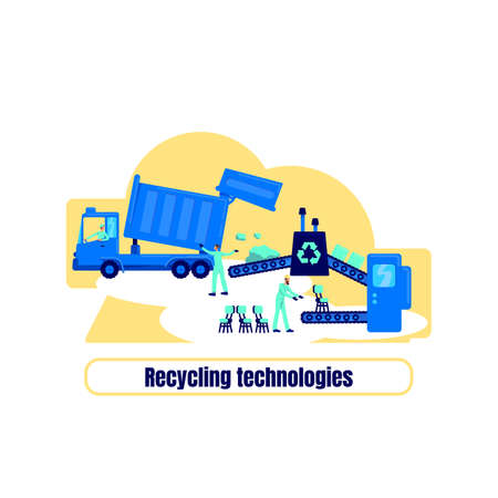 Recycling plant flat concept vector illustration. Recycling technologies phrase. Reuse resource. Factory manufacture 2D cartoon illustration for web design. Processing waste creative idea
