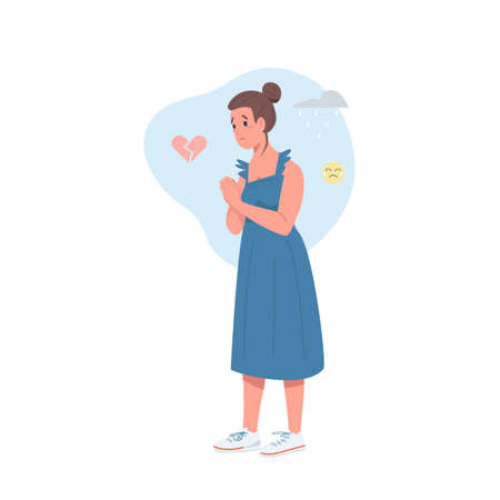 Heartbroken woman flat color vector detailed character. Female feeling sag. Upset girl. Depression and loneliness isolated cartoon illustration for web graphic design and animation Illustration