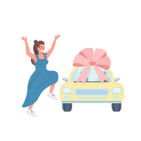 Female car winner flat color vector detailed character. Automobile with bow. Woman excited for new vehicle. Luxury present isolated cartoon illustration for web graphic design and animation Vektoros illusztráció