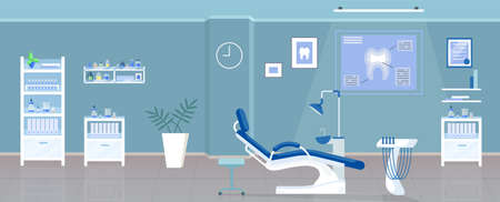 Dental office flat color vector illustration. Stomatological clinic, odontology room 2D cartoon interior design with orthodontic appliances on background. Stomatologist workplace with dental chair Vektorové ilustrace