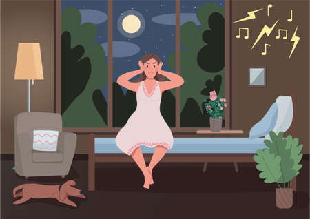 Noisy neighbors flat color vector illustration. Insomnia because of party next door. Annoyed girl cover ears. Awake upset lady. Angry sleepless woman 2D cartoon characters with interior on background Stock Illustratie
