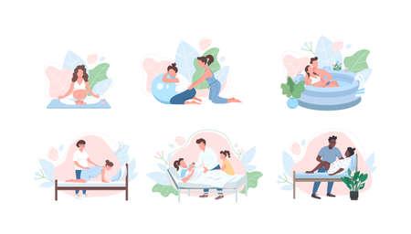 Prenatal care flat color vector faceless character set. Pregnancy yoga. Midwife help parent. Alternative childbirth isolated cartoon illustration for web graphic design and animation collection Vektoros illusztráció