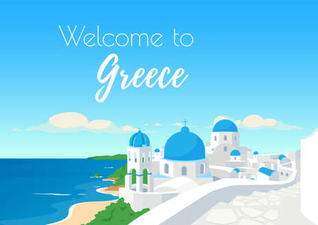 Santorini islands poster flat vector template. Welcome to Greece phrase. European culture and architecture. Brochure, booklet one page concept design with cartoon objects. Travel agency flyer, leaflet