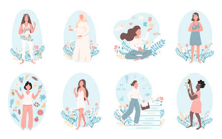 Women health flat color vector faceless character set. Mental wellbeing. Physical healthcare. Self love. Female wellness isolated cartoon illustration for web graphic design and animation collection Ilustracje wektorowe