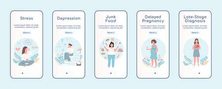 Women problem onboarding mobile app screen flat vector template. Female healthcare. Walkthrough website steps with characters. UX, UI, GUI smartphone cartoon interface, case prints set