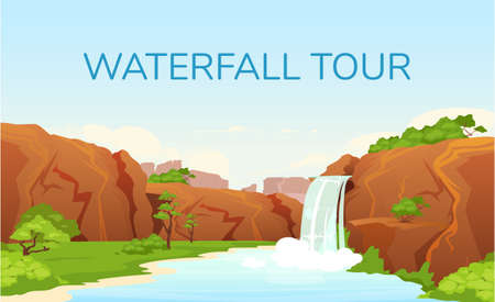Waterfall tour banner flat vector template. Tourism agency brochure, booklet one page concept design with cartoon illustrations. Trip to beautiful oasis, nature reserve. Tourist resort flyer, leaflet Vettoriali