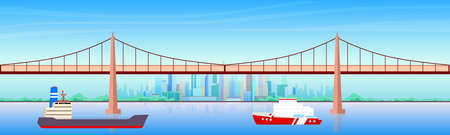 City harbor flat color vector illustration. Seaside metropolis 2D cartoon cityscape with skyscrapers on background. Urban landscape with freight ships near bridge. Commercial shipping business Vettoriali