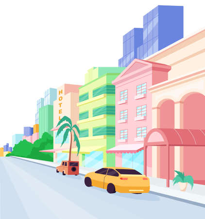 Miami streets flat color vector object. Florida architecture and lifestyle. Modern buildings and luxury cars. isolated cartoon illustration for web graphic design and animation