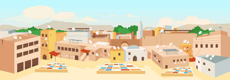 Tunisian old town flat color vector illustration. Traditional architecture in Tunisia panoramic view. Touristic landmarks of Africa. Medina 2D cartoon landscape with sky scape on background