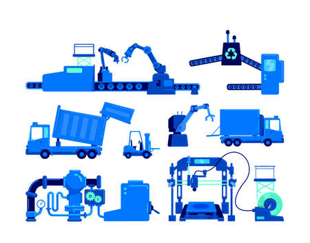 Production equipment flat color vector object set. Conveyor belt for manufacture. Industrial machinery isolated cartoon illustration for web graphic design and animation collection Illusztráció