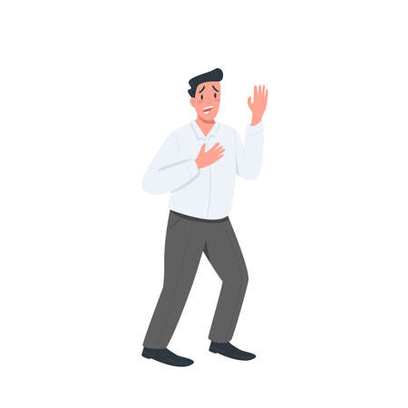 Stressed man flat color vector detailed character. Confused guy. Frustrated manager. Expression of fear. Anxiety from work. isolated cartoon illustration for web graphic design and animation Illusztráció