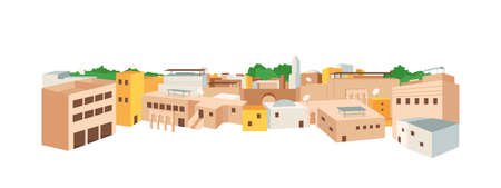 Arab medina flat color vector object. Traditional arab architecture. Medieval town in Africa. Tunisian, moroccan landscape isolated cartoon illustration for web graphic design and animation Stock Illustratie